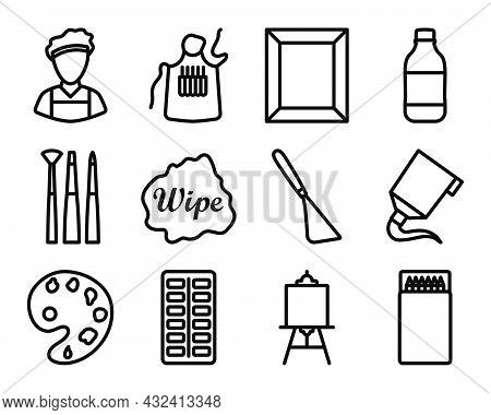 Painting Icon Set. Bold Outline Design With Editable Stroke Width. Vector Illustration.