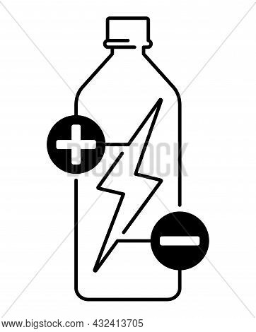 Electrolyte Water Icon For Mineral Drinks Or Other Beverages - Electric Ions In Bottle. Vector Emble