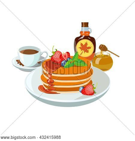 Sample Breakfast Plate With Pancakes, Maple Syrup, Honey, Strawberry And Cup Of Coffee. Classic Hote