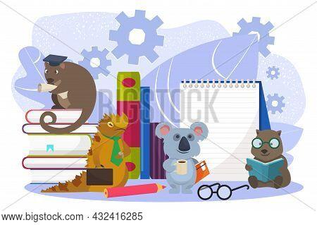Cute Australian Smart Animal Character Together Obtain Knowledge, Tiny Wild Beast Education Flat Vec