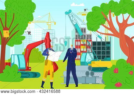 Construction Site Building Place, Professional Engineer Character Conversation Businessman Flat Vect