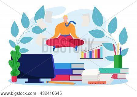 Business Office Clerk Employee Meditation, Businessman Character Company Paperwork Flat Vector Illus