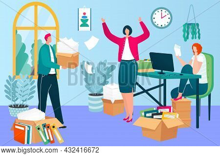 Office Work Deadline Work Processes, Business People Character Together Labour Paperwork Flat Vector