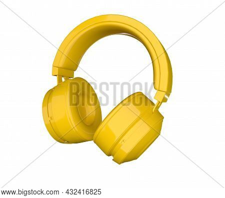3d Rendering Yellow Headphones Isolated On White Background