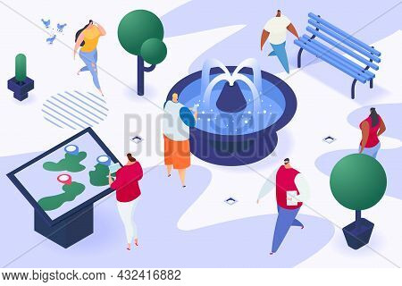 Townspeople Character Together Walk Urban Garden Place With Fountain, Stroll City People 3d Isometri