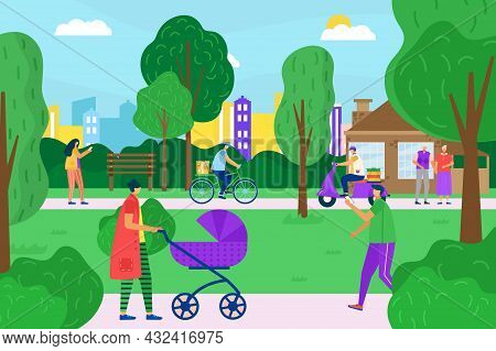 Townspeople Character Together Walk City Garden, Different People Stroll Outdoor Urban Park Flat Vec