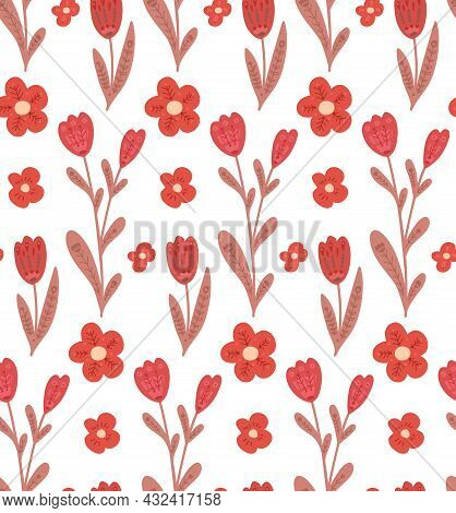Seamless Pattern With Simple Flowers With Folk Decorations On White Background. Naive Texture With T