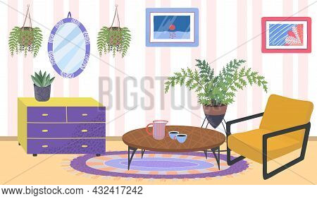 Comfortable House Apartment Room Place, Green Organic Cozy Home Plants, Relax Cabinet Flat Vector Il
