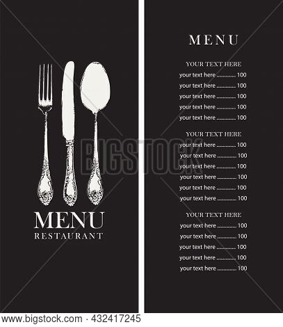 Vector Menu Design For A Restaurant With Fine Cuisine. Black And White Template Of A Restaurant Menu