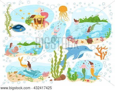 Magical Mermaid Sea Creature, Ocean Character Nymph With Marine Animal Dolphin Poster Banner Set Fla