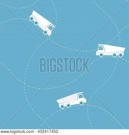 Seamless Flat Vector Pattern With Dump Truck