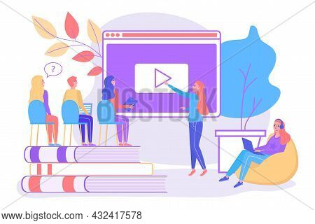 People Student Character Together Obtain Online Knowledge, Tiny Classmate Character Study Flat Line