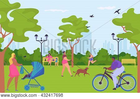 People Character Together Spend Time In Parkland Ride Bike, Walk Dog And Jogging, Outdoor Human Stro