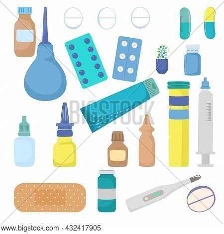 Medical Pharmacy Drug Icon Set, Medicine Home First Aid Kit Thermometer, Medicament And Bandage Flat