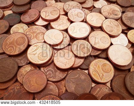 Euro Cent Coins Texture Background.  Background Of 1, 2 And 5 Euro Cent Coins.