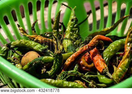 Close Up Of Red And Green Chili Kept In Green Color Plastic Container Or Plastic Basket Under Bright