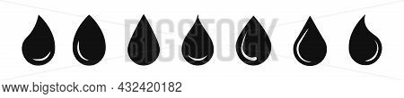 Water Drop Vector Icon. Water Or Rain Drops Shape Icons Set. Blood Or Oil Drop. Flat Style Isolated