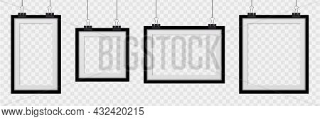 Set Realistic Empty Frames On Transparent Background. Collection Square Photo Frame Empty Blank Mock