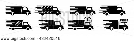 Fast Shipping Delivery Truck Icon Set. Free Online Delivery Service. Parcel Delivery. Cargo Shipment