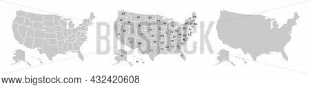 Usa Map Vector Illustration. United States Of America Silhouette. High Detailed Usa Map In Flat And