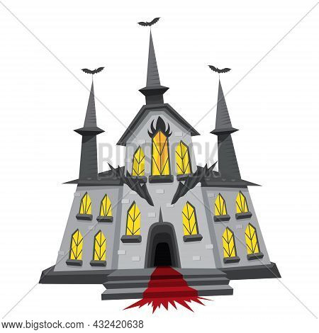 Halloween Creepy Castle. Vector Illustration In Cartoon Style Isolated On White Background