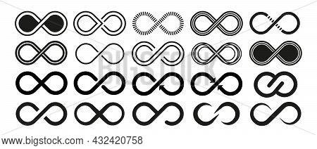 Infinity Vector Icon. Abstract Circle Geometric Shape Symbol, Sign, Logo, Emblem. Set Of Infinity Ve