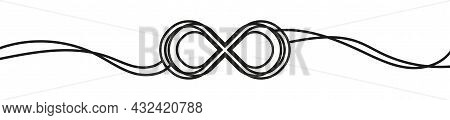 Infinity Symbol In Line Drawing Style. Modern Creative Hand Drawn Background. Continuous Infinite Ou
