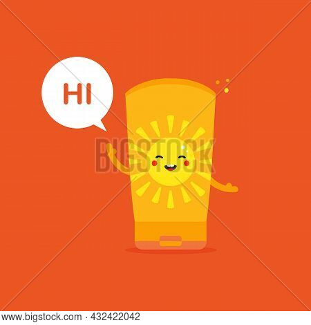 Cute Cartoon Style Happy Bottle Of Sunscreen Character With Speech Bubble Saying Hi, Hello.