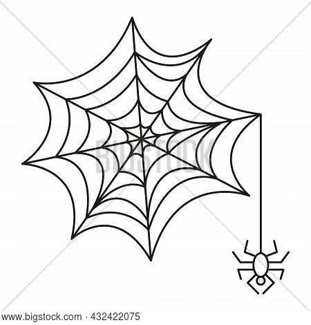 Spideweb Linear Icon. Halloween Line Art. Isolated Black Net With Spider On White Background. Web Wi