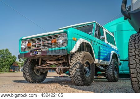Loveland, CO, USA - August 29, 2021: Vintage, first generation,  Ford Bronco ranger wagon with an upgraded front bumper and winch promoting Falken Tires during Overland Expo Mountain West event.