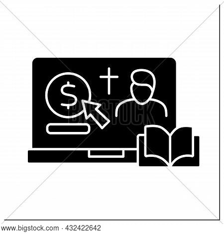 Donation Glyph Icon. Online Contribution For Church And Priest. Virtual Money Thanks For Services. O