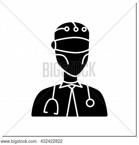 Robot Glyph Icon. Ai In Medicine. Digital Doctor. Modern Technologies. Ai Diagnostic Concept. Filled