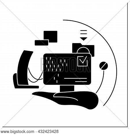 Software Industry Glyph Icon. Software Development. Computer Engineering. Modern Smart Technologies