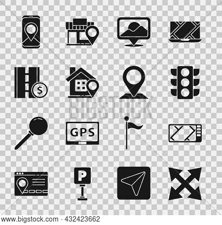 Set Road Traffic Sign, Gps Device With Map, Traffic Light, Location, House, Toll Road, City Navigati