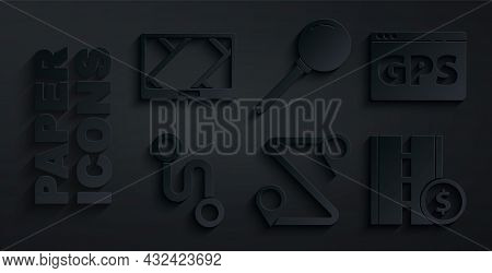 Set Route Location, Gps Device With Map, Toll Road Traffic Sign, Push Pin And Icon. Vector