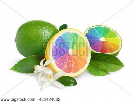 Fresh Lemon And Lime With Rainbow Segments On White Background. Brighten Your Life
