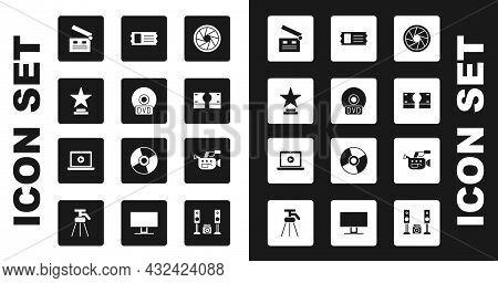 Set Camera Shutter, Cd Or Dvd Disk, Movie Trophy, Clapper, Stacks Paper Money Cash, Cinema Ticket, C