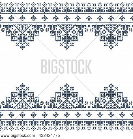 Zmijajne Tradtional Cross Stitch Vector Greeting Card Or Seamless Textile Pattern Design, Bosnia And