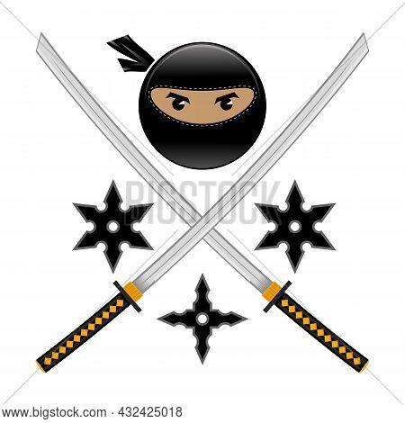 Cartoon Ninja Face Icon With Katana And Metal Stars Isolated On White Background. Warrior Logo.
