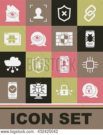 Set Cyber Security, Processor With Microcircuits Cpu, System Bug On Mobile, Shield Cross Mark, Eye S
