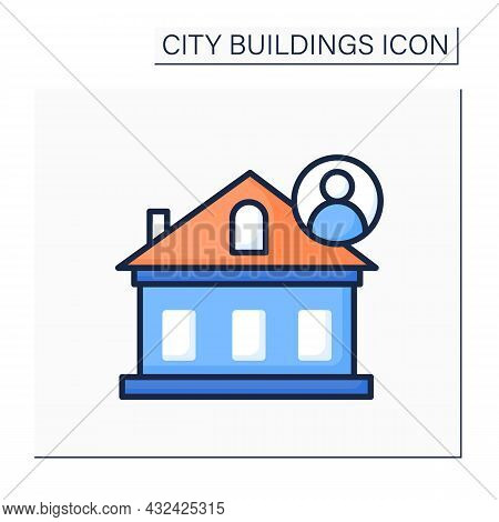 House Color Icon. Private Home With Resident. Concept Of Individual City Housing, Suburb Living And
