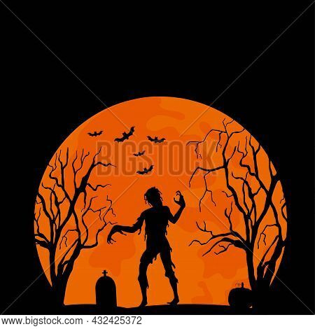 Halloween Illustration With Zombie, Cemetery And Trees. Happy Halloween