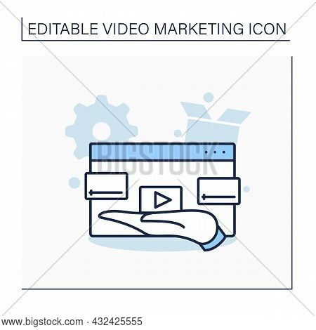 Demo Video Line Icon. Demonstration Video Illustrates Products And Services.attract Prospective Cust