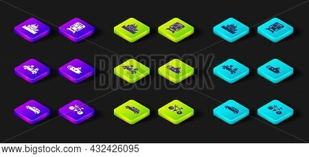 Set Hatchback Car, Bicycle, Delivery Truck, Submarine, Train And Railway And Cruise Ship Icon. Vecto