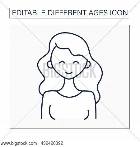 Early Adulthood Line Icon. Adult Strong Woman. Happy Young Female Person. Life Cycle. Different Ages
