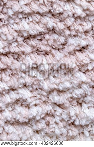 Pink Fabric Texture. Closeup Of A White Fluffy Soft Bath Mat Or Rug Textile Background. Macro Photog