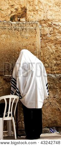 Unidentified Man In Tefillin  Praying At The Wailing Wall (western Wall)