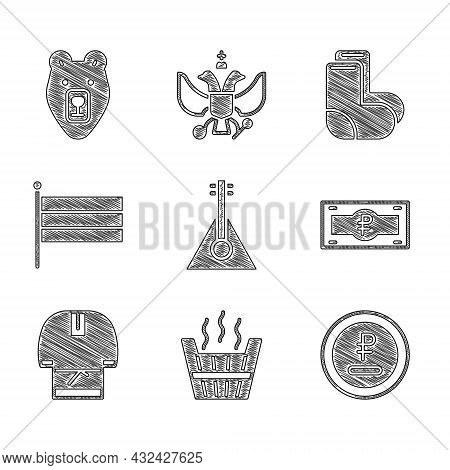 Set Balalaika, Sauna Bucket, Rouble, Ruble Currency, Russian Banknote, Kosovorotka, National Flag, V