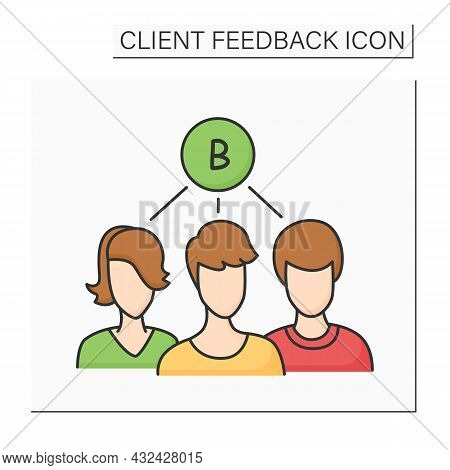 Group Demand Color Icon. Customer Avatars With Common Preference. Consumer Feedback Collection And M