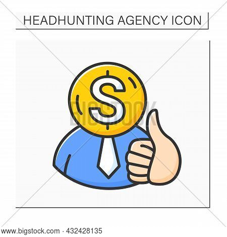 Hiring Employee Color Icon. Finding, Selecting And Hiring New Employees To Company. Headhunting Agen